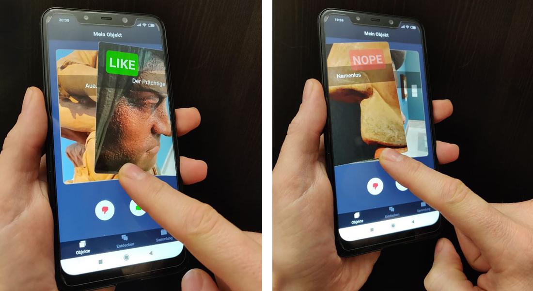 Prototyp für die Anwendung Mein Objekt: Über eine interaktive Wischgestenauswahl suchen sich NutzerInnen ihr Lieblingsobjekt aus. © Christian Stein