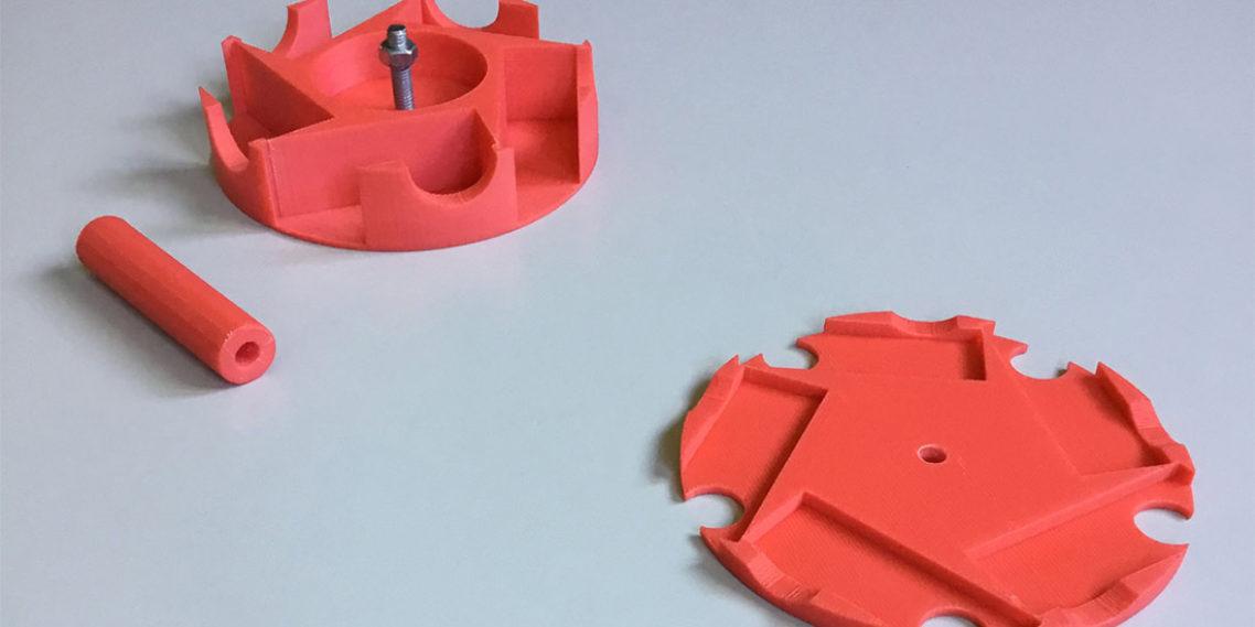 Frisch aus dem Drucker: Bauteile eines 360-Grad Kamera-Rigs © Fastnachtsmuseum Narrenschopf Bad Dürrheim