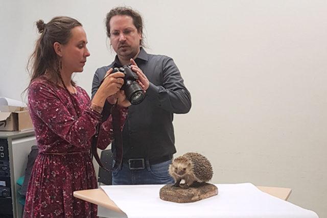 VR-Experte Westermann erklärt einer Workshop-Teilnehmerin am Beispiel eines Igelpräparats das Prinzip der Photogrammetrie ©Anke U. Neumeister