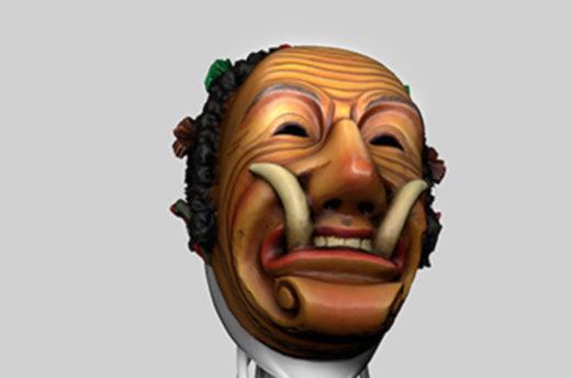 Virtueller Museumsguide mit Federhannes-Maske