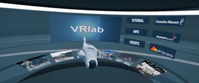 Auswahlmenü der VR-Sequenz auf den VR-Flächen © Deutsches Museum / VR Dynamix