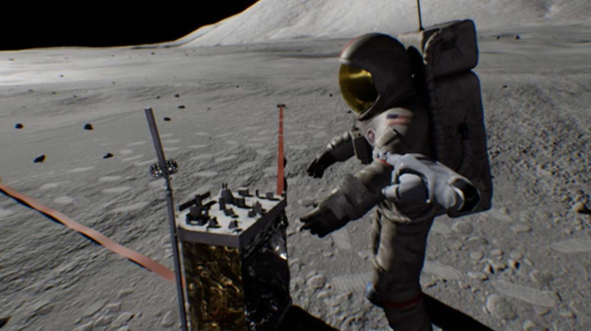 360-degree animation (controllable by mouse click): Driving on the moon with the luna rover © Bayerischer Rundfunk