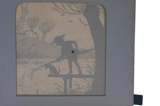 Zieh- und Silhouettenbild in Einem: Meggendorfer's Bewegliche Schattenbilder von 1886 erlauben durch transparente Seiten den Blick auf die Umrisse von Figuren und Landschaft. Foto: SBB-PK