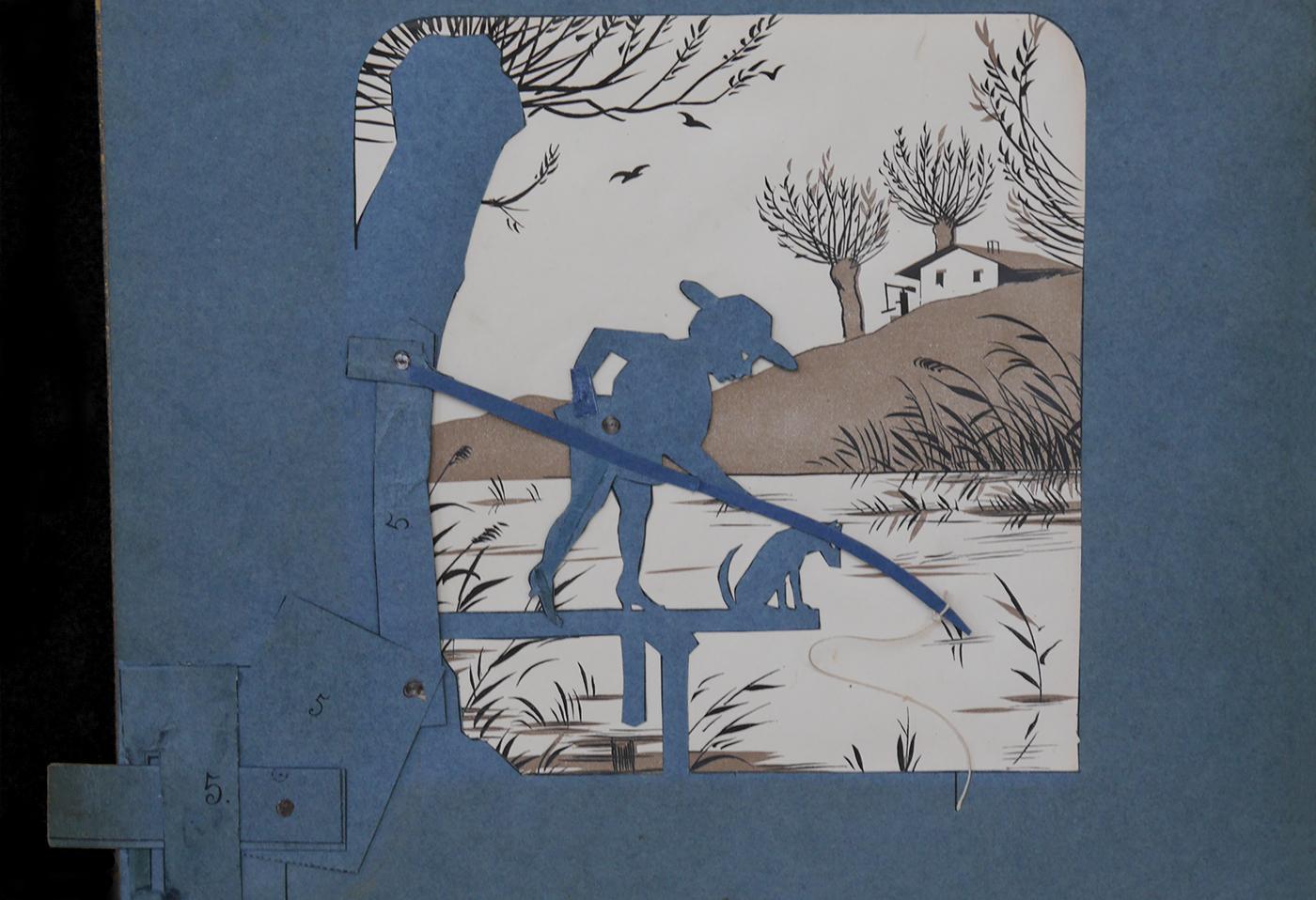 Dem Angler zugrunde liegende Papiermechanik. Aus: Meggendorfer's bewegliche Schattenbilder, 1886. SBB-PK