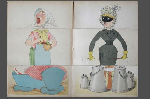 Lothar Meggendorfer lässt NutzerInnen in seinem Werk Die lustige Tante: ein komisches Verwandlungsbilderbuch (1891) Figuren aus umklappbaren Seitenfeldern neu kombinieren. Foto: SBB-PK