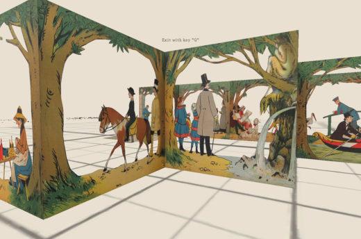 Screenshot des dreidimensionalen Prototyps einer digitalen Bewegungsbuchreplikation. Aus: Lothar Meggendorfer: Im Stadtpark. Braun & Schneider, München, 1887. Bild: SBB-PK