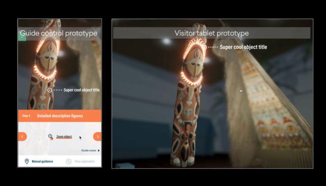 Mock-up AR-Anwendung. Gerät des führenden Guides (links) und eines Besuchers (rechts). Visualisierung: Staatliche Museen zu Berlin / NEEEU Spaces GmbH, CC BY 4.0