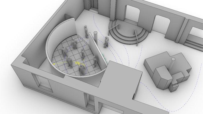 Planungsskizze des Datarama für die Installation im Senckenberg Museum für Naturkunde Görlitz
