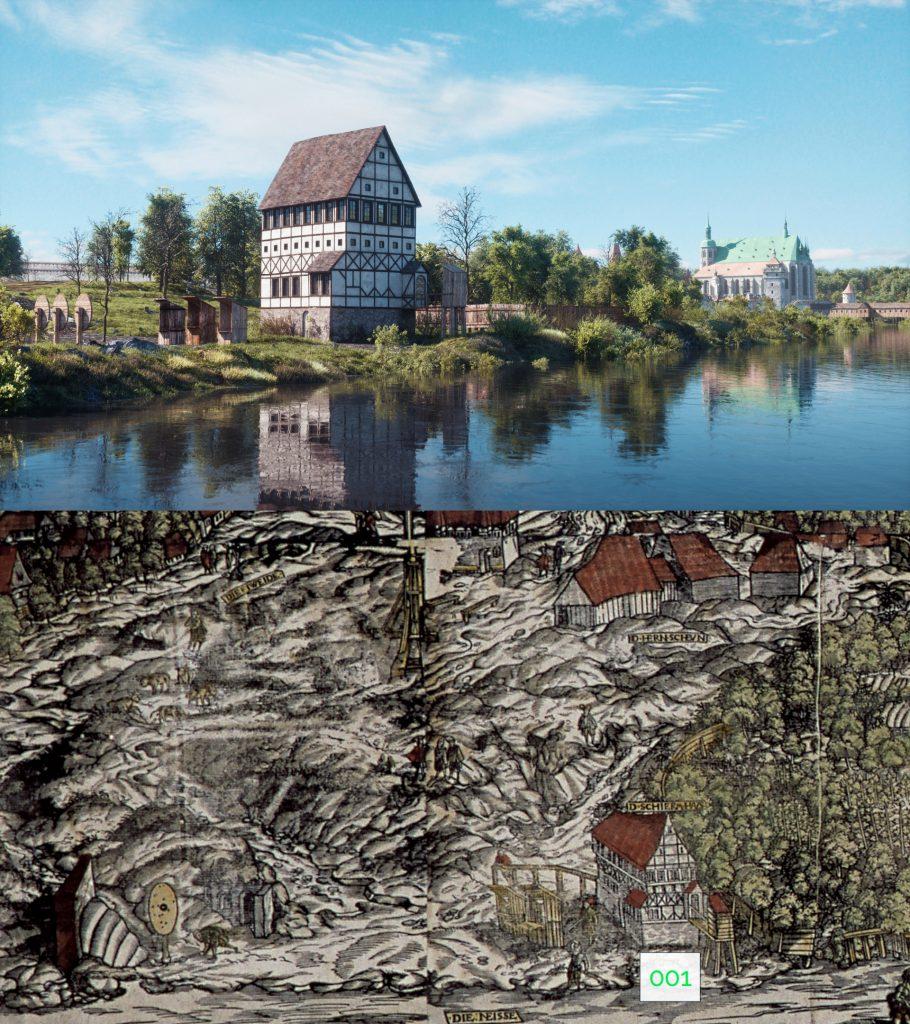 Der Entstehungsprozess des Films am Beispiel des Schützenhauses um 1550: Ausschnitt aus der historischen Stadtansicht (Metzger, J. & Scharfenberg, G.: Abkontrafeitung der Stadt Görlitz 1565) (unten) und digitale Nachbildung (oben)